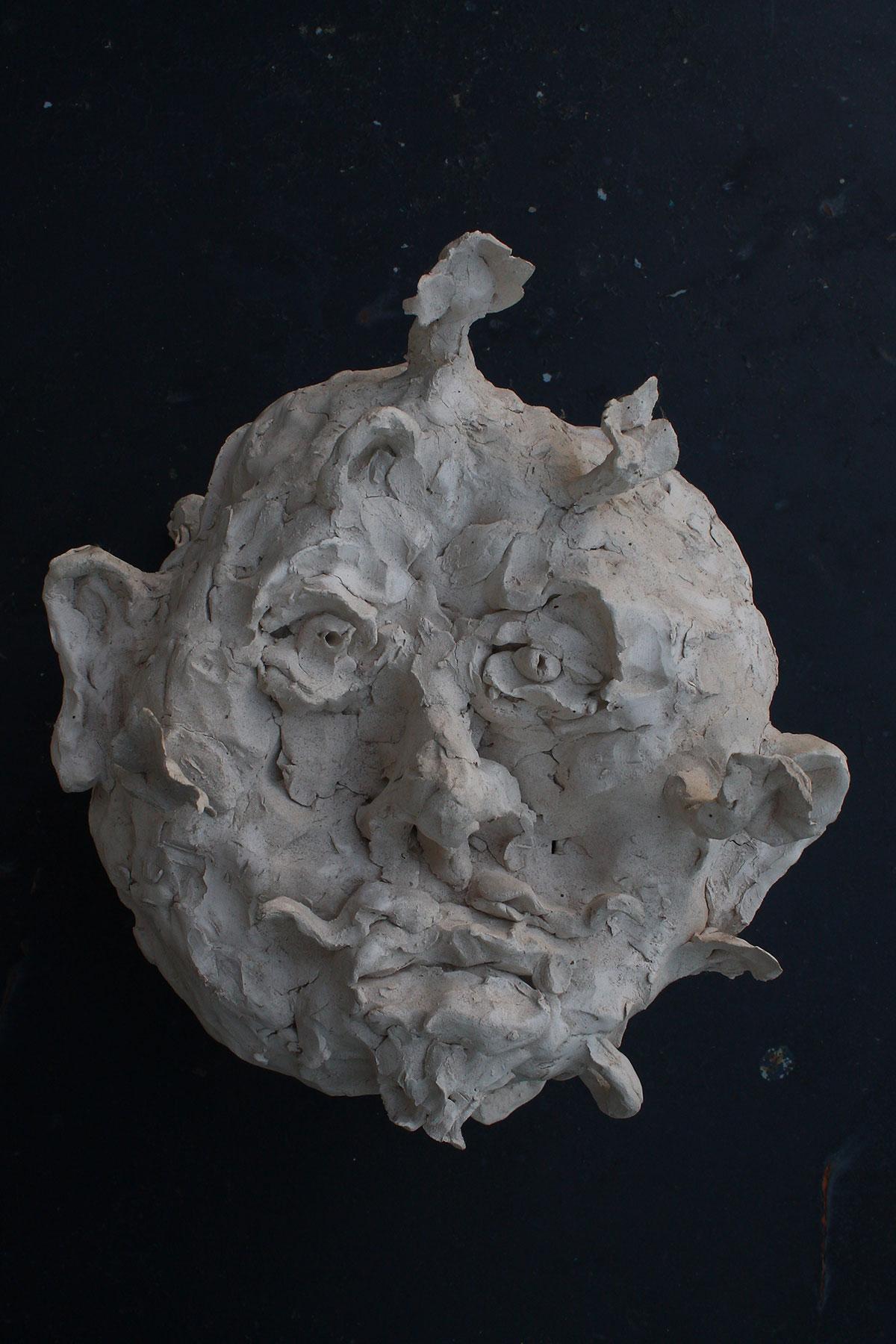 Tête enracinée, 2008, terre cuite, 30 x 20 x 20 cm.