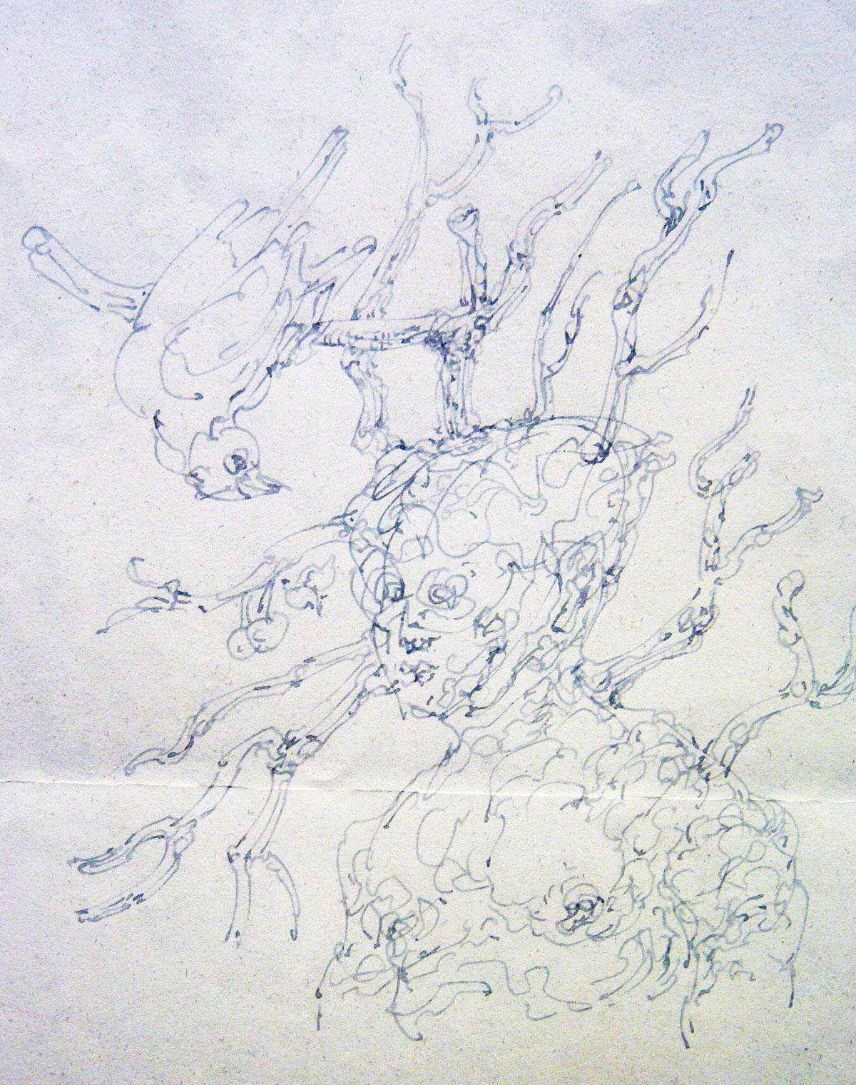 Tête branchée, 2017, encre, 13  x 12 cm