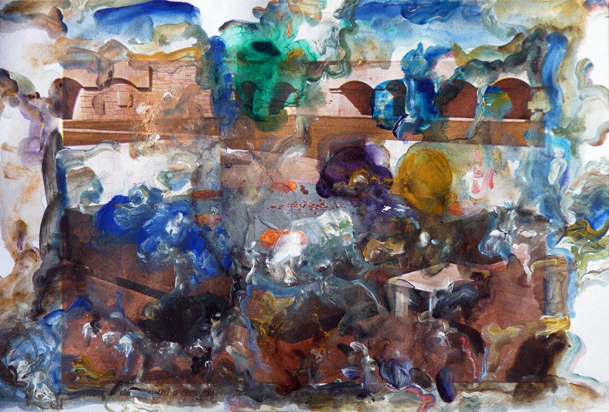 Le Déploiement des hypothèses, 2018, collage et acrylique, 12 x 18 cm