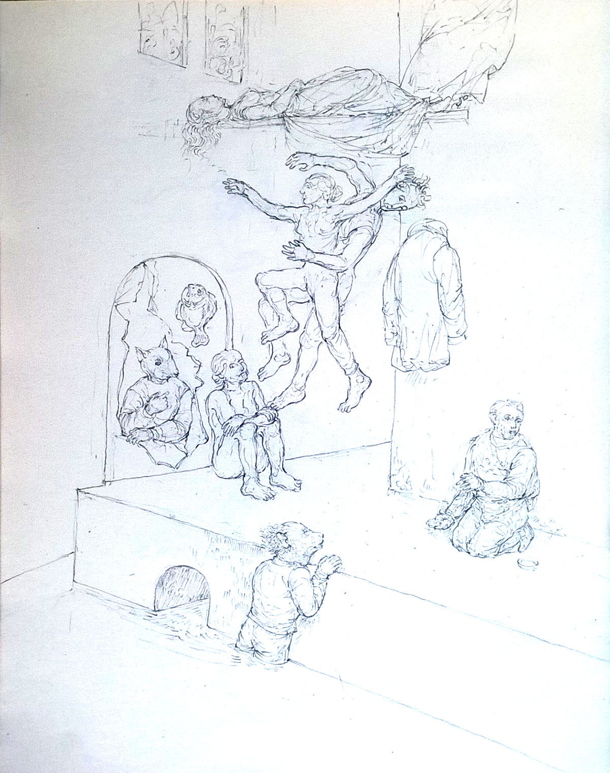 Groupe dansant, 2020, mine de plomb sur papier, 21 x 29 cm