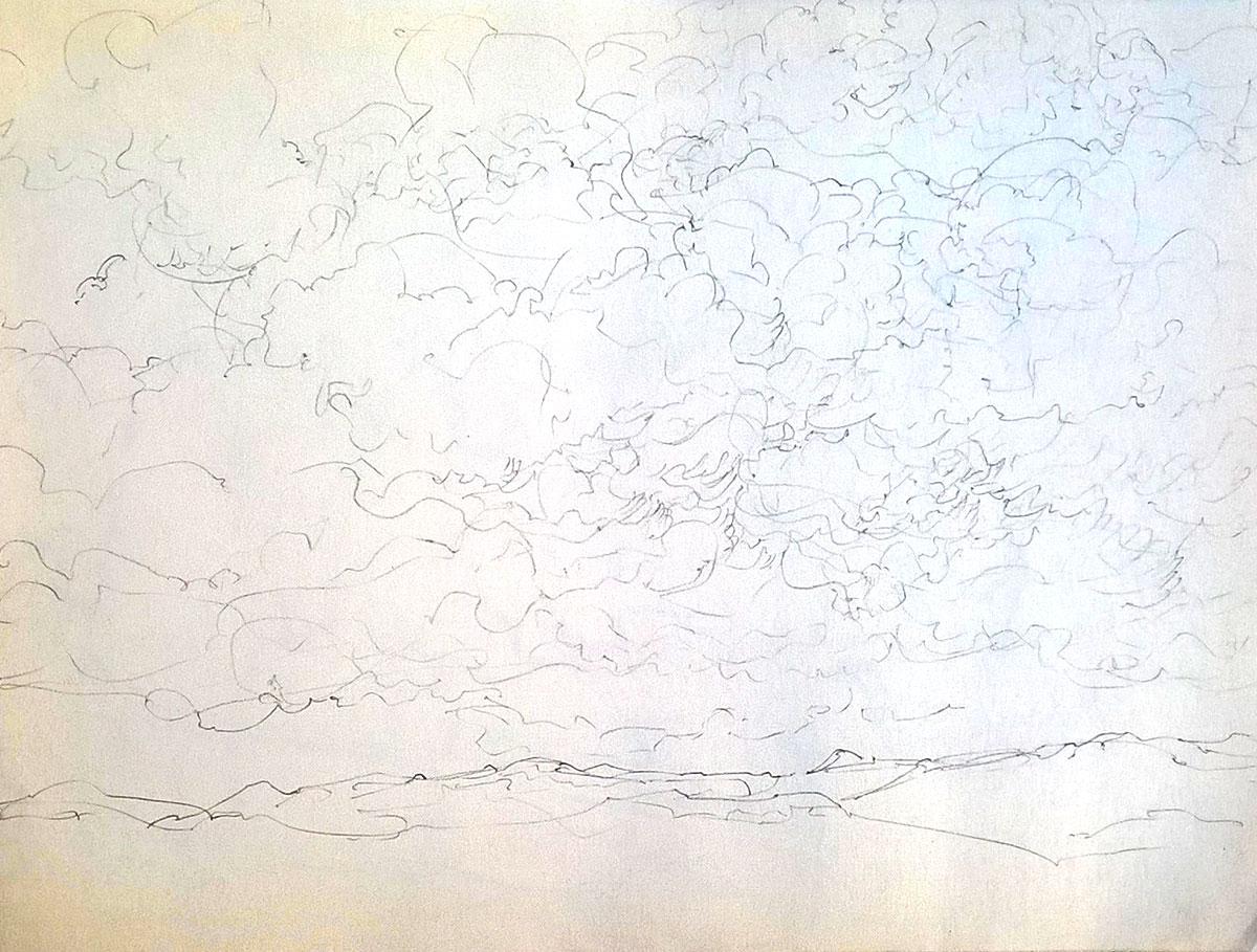 Paysage de mer, 2020, mine de plomb sur papier, 21 x 29 cm