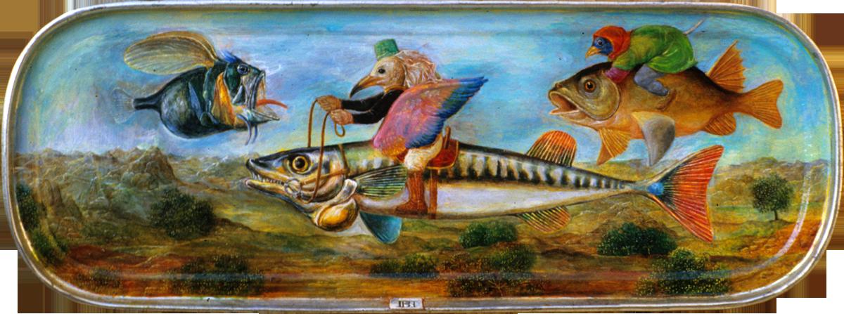 Philippe Briard - L'envolée ou les oiseaux de passage, 1985, huile sur boîte de maquereaux, 15 x 6 cm