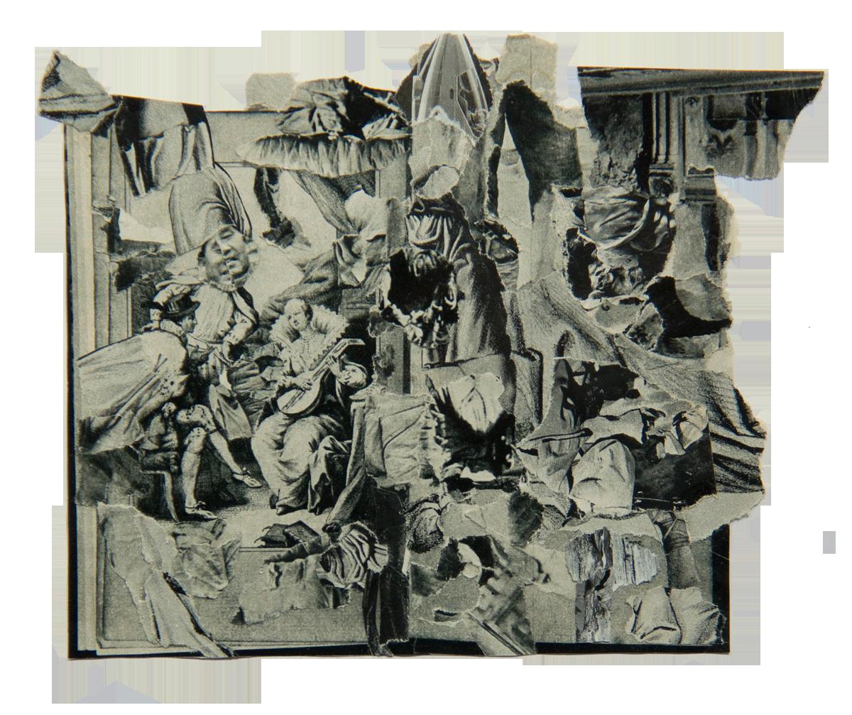 Philippe Briard  - Le Concert champêtre, 2010, collage, 14 x 18 cm