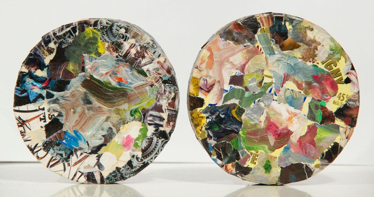 Philippe Briard - Sans titre, collage sur boîte à Camembert, 11cm diamètre