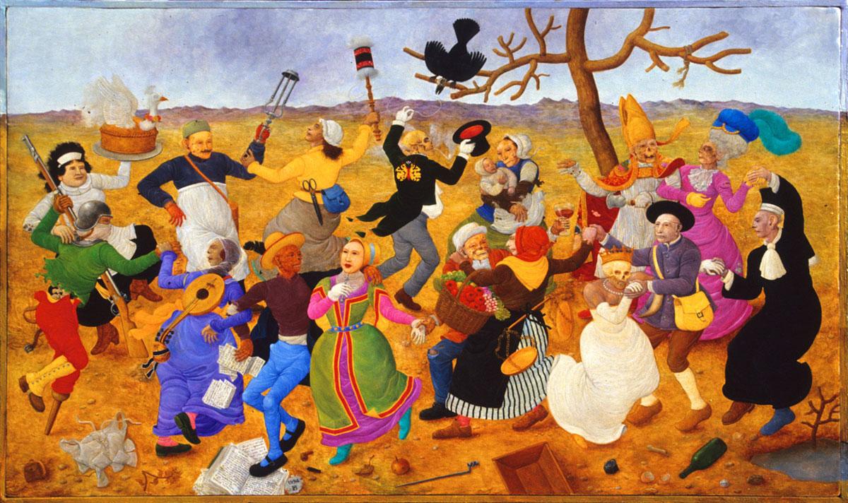 Philippe Briard - Danse Macabre, 1994, huile sur panneau, 27 x 46 cm
