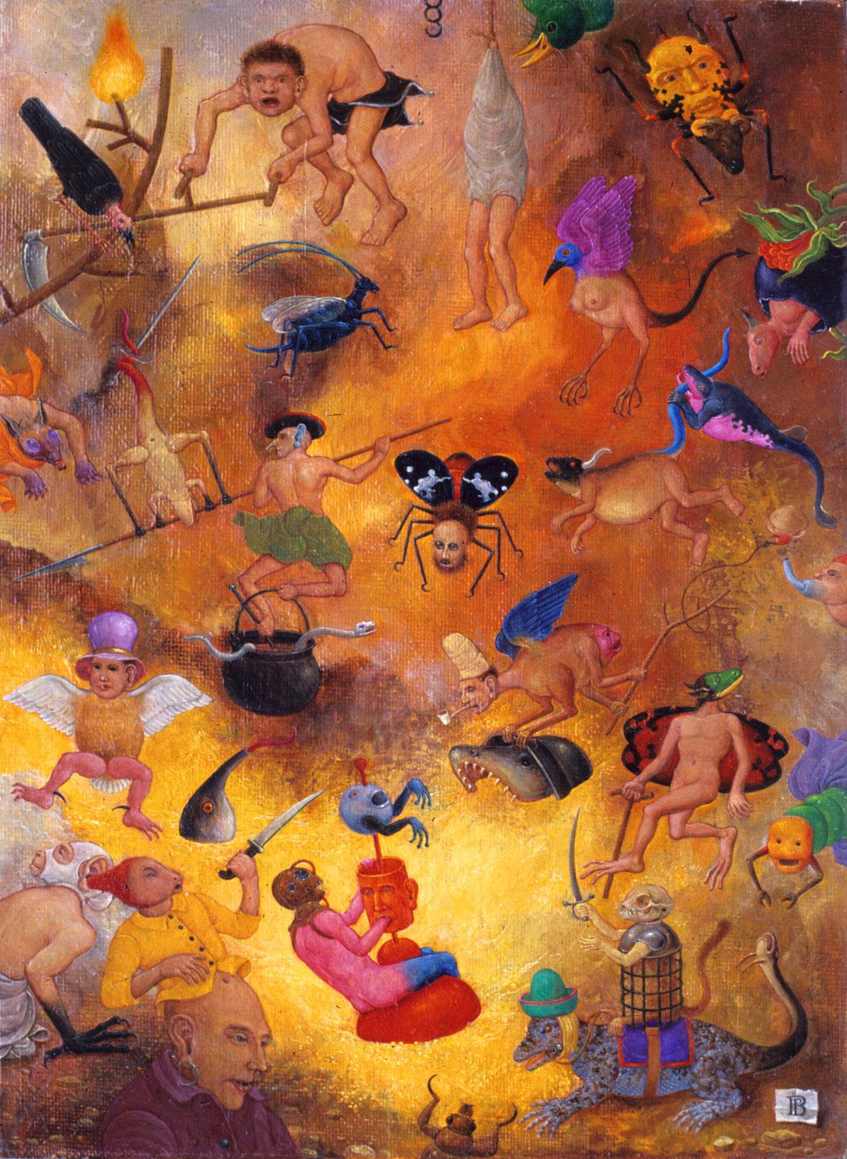 Philippe Briard - Petit Paysage enflammé, 1992, huile sur panneau, 16 x 22 cm