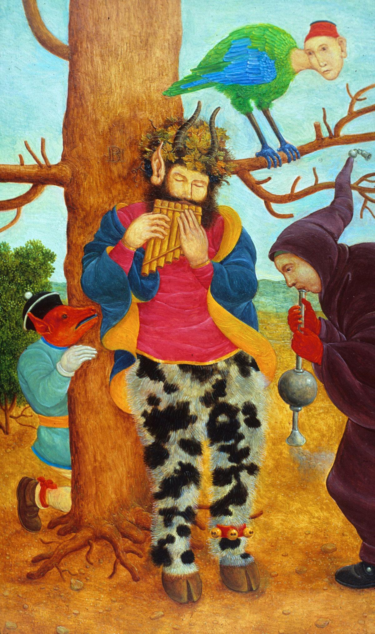 Philippe Briard - Petit concert champêtre ou l'après-midi d'un faune, 1992, huile sur panneau, 10,5 x 17,5 cm