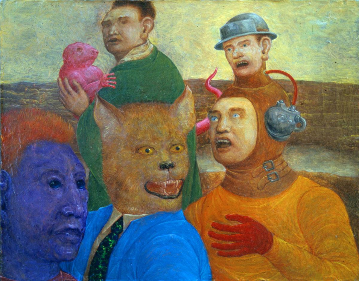 Philippe Briard- Personnages dans un paysage, 1999, huile sur panneau, 16 x 13 cm