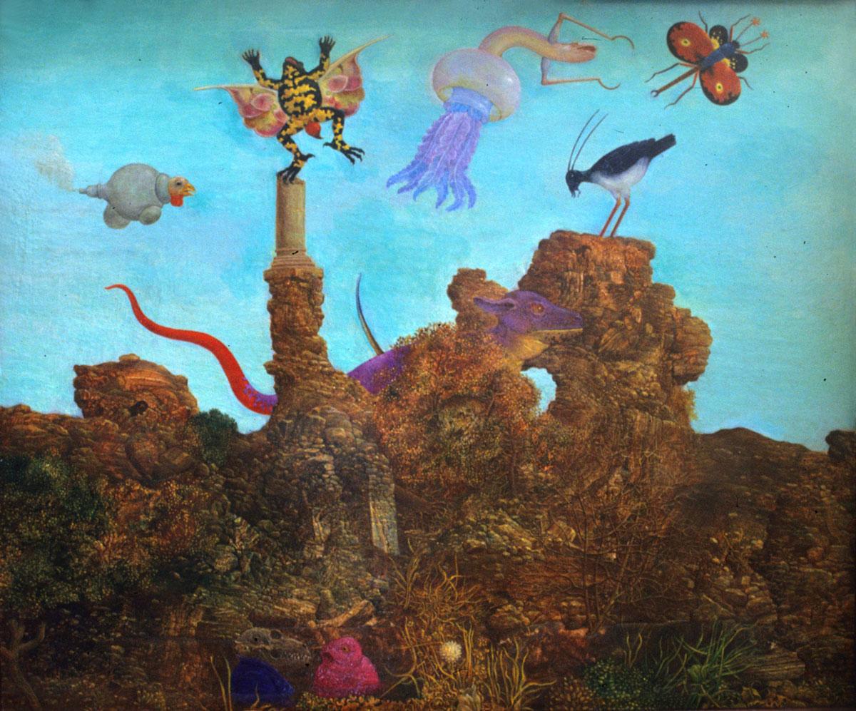 Philippe Briard - Petit Paysage en forme d'hommage à Max Ernst, 1994, huile sur panneau, 23 x 19 cm