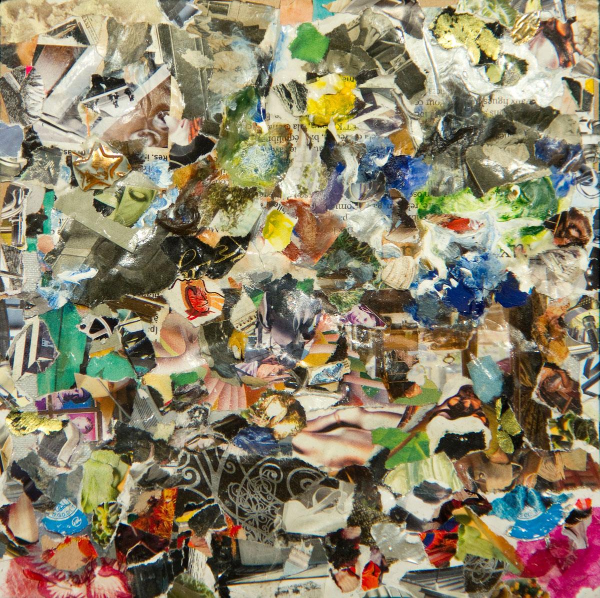 Philippe Briard - l'Odeur des étoiles, 2012, collage acrylique, 18 x 12 cm