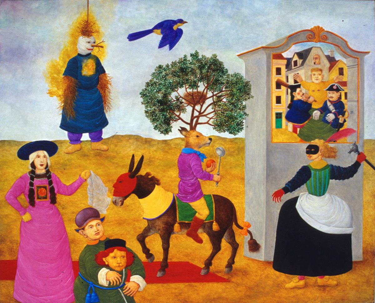 Philippe Briard - Voyage sur un âne, 1996, huile sur panneau, 33 x 41 cm
