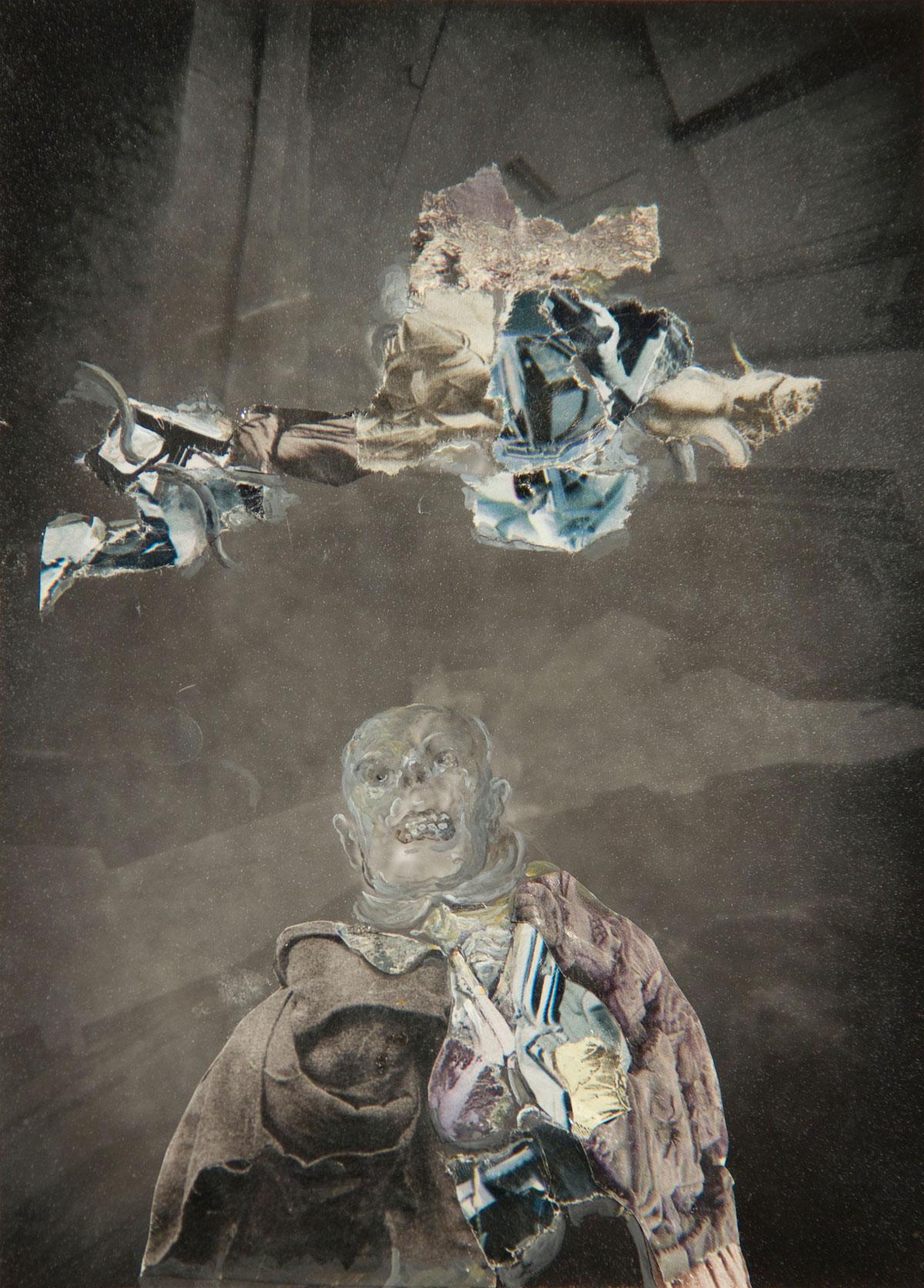 Philippe Briard - Le Vent de l'ombre, 2009, collage acrylique sur stenopé, 12,5 x 7,5 cm