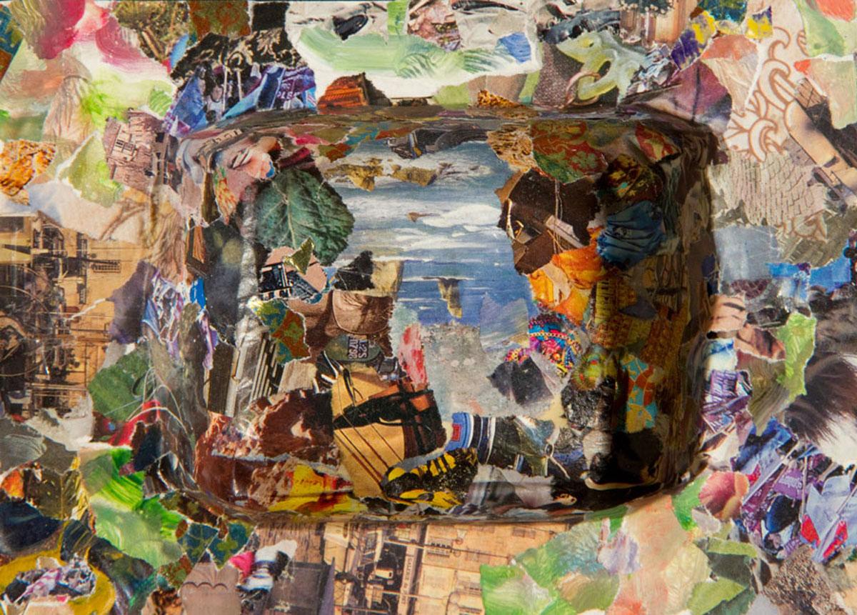 Philippe Briard - Envolée de plage, 2010, collage et acrylique, 13 x 18 cm