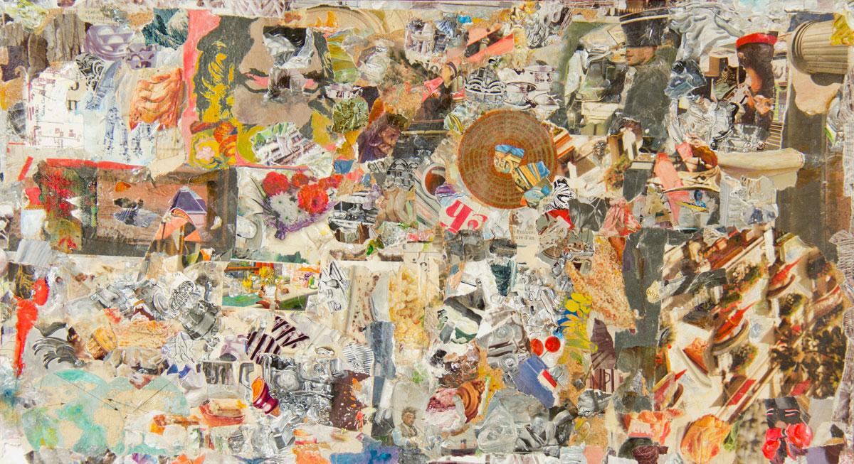 Philippe Briard - Au cœur de la grâce mouvante, 2012, collage scotch et acrylique, 28 x 51 cm