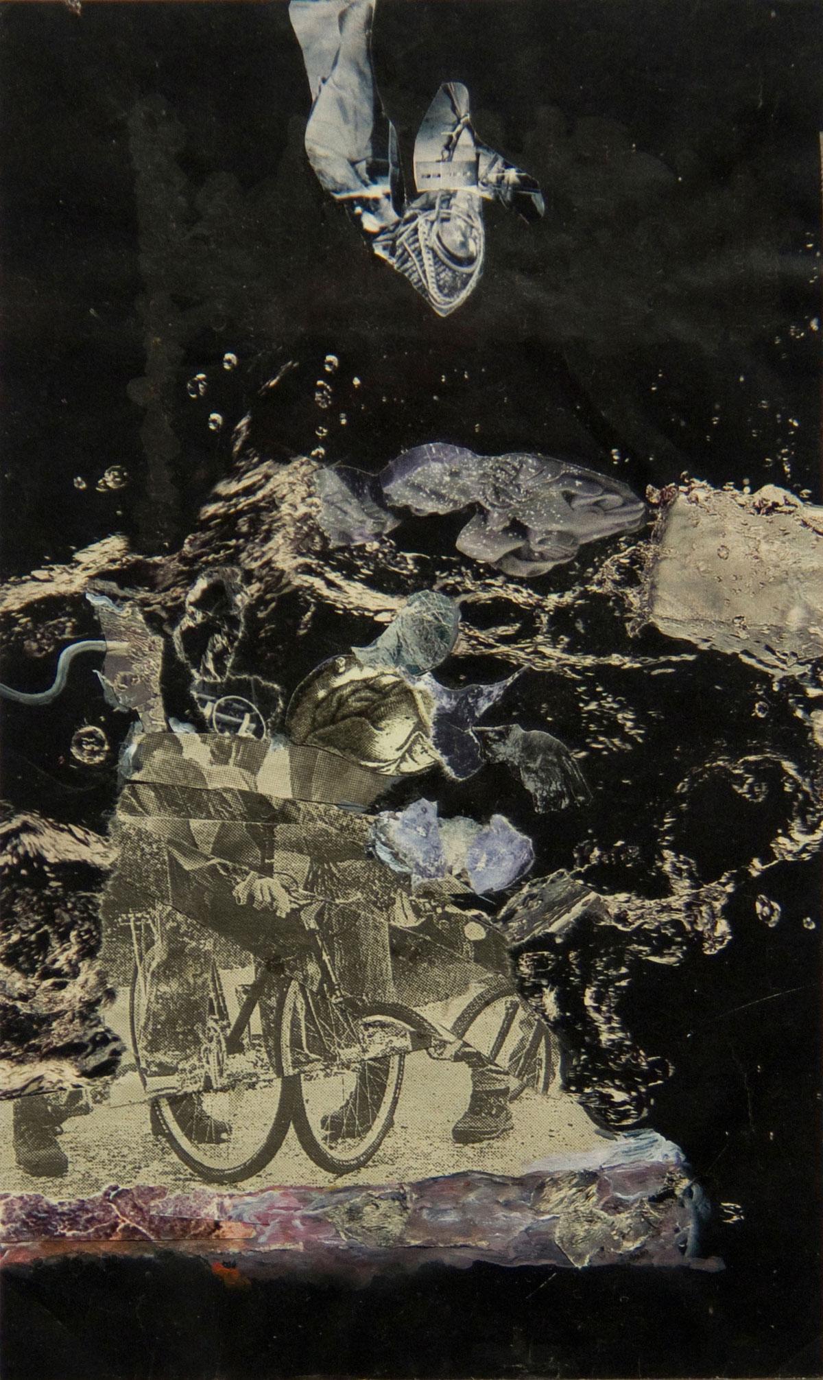 Philippe Briard - Le Cycliste d'Azur, 2008, collage acrylique, 21,5 x 12,5 cm