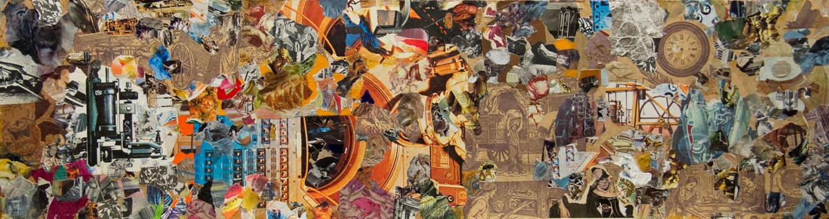 Philippe Briard - La Fabrique du pain, 2012, collage acrylique sur bois, 18,5 x 68,5 cm