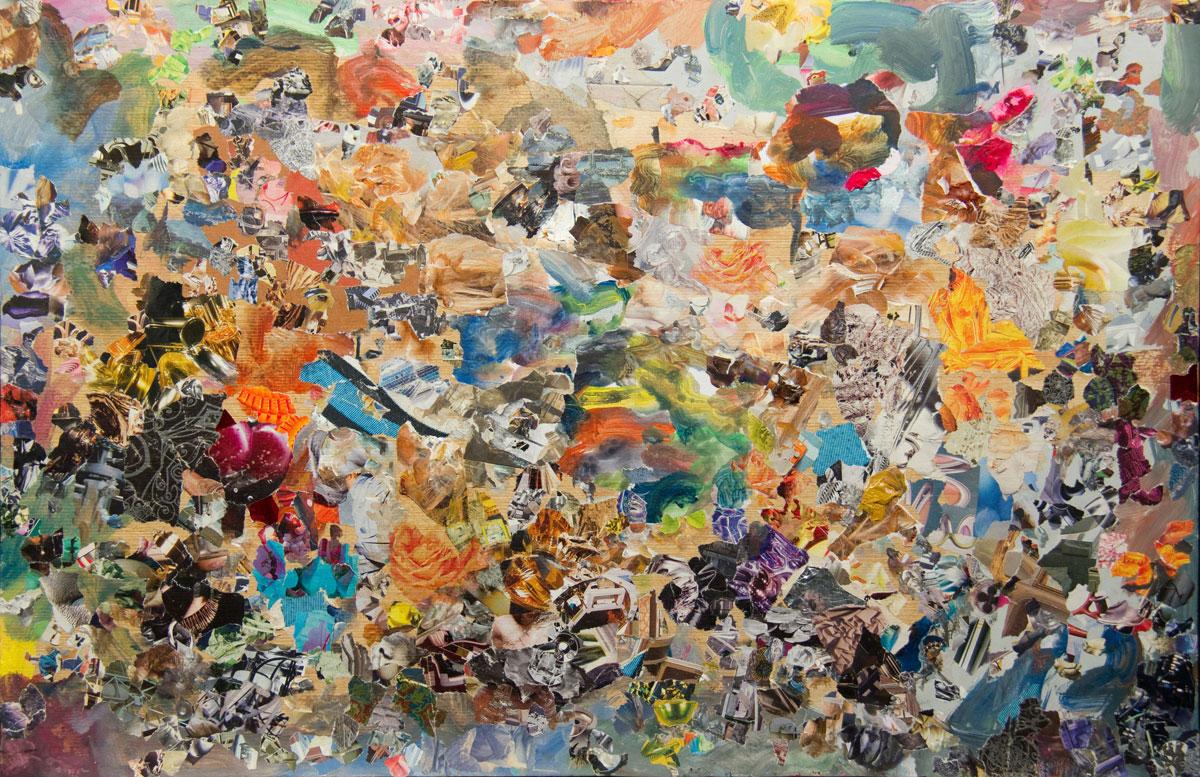 Philippe Briard - Les Hauts de Hurlevent, 2011, collage acrylique sur bois, 39 x 60
