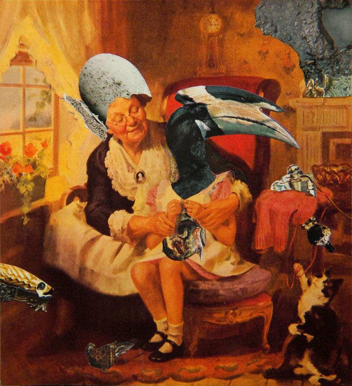 Philippe Briard - Le Tricot ou la leçon, 2007, collage, 18 x 16,5 cm