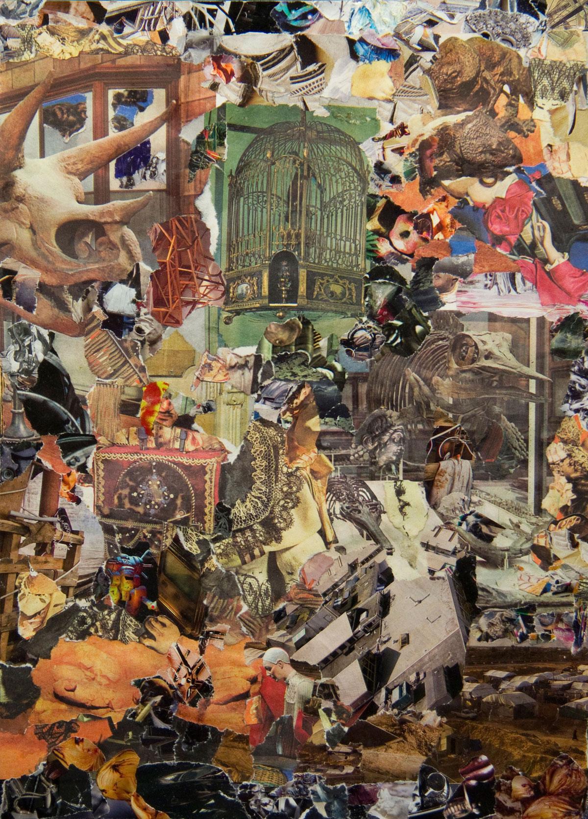 Philippe Briard - Les Cages dentelées, 2011, collage, 32,5 x 23 cm