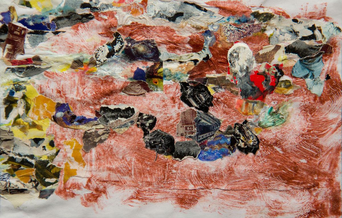 Philippe Briard - Au fil de la roche, 2007, collage et acrylique sur monotype, 14 x 22 cm