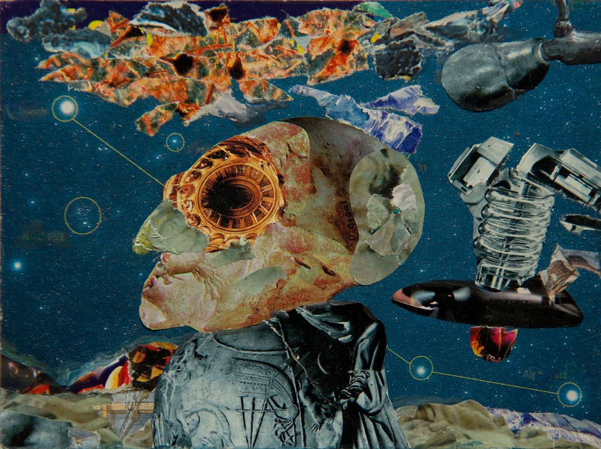 Philippe Briard - La Périphérie des étoiles, 2008, collage et acrylique, 12,5 x 17 cm