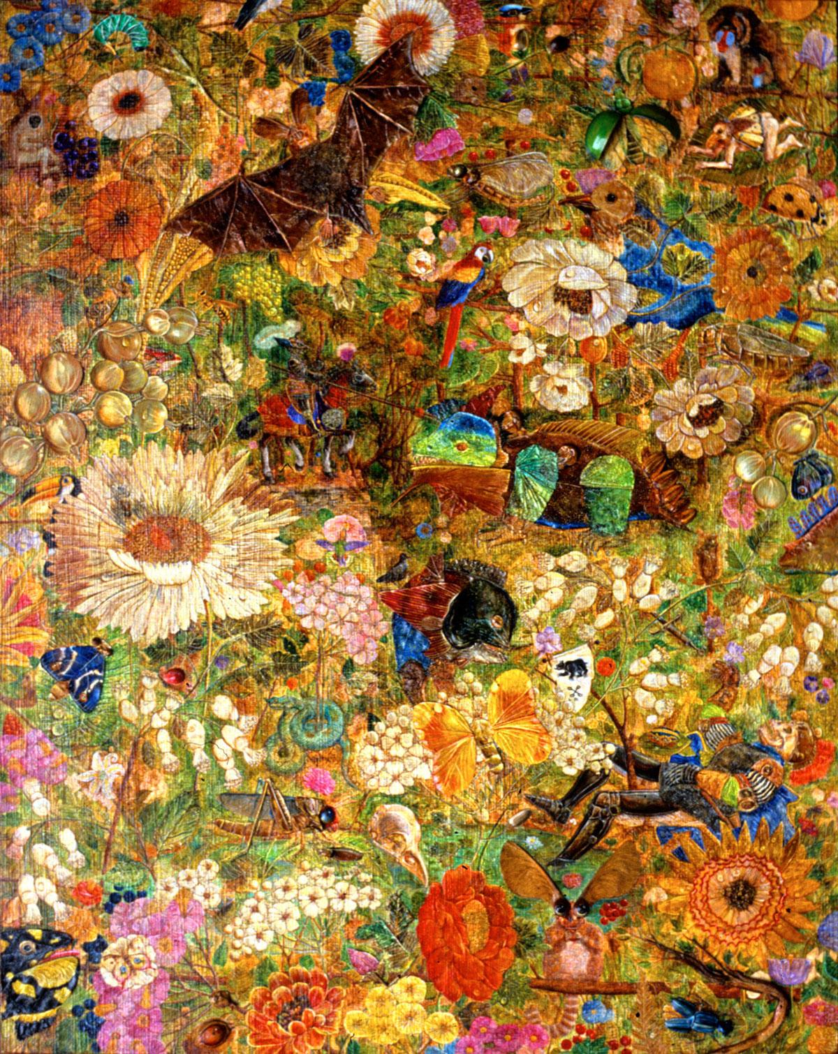 Philippe Briard - La Chasse aux chimères : 1983, huile et collages sur panneau, 40 x 50 cm