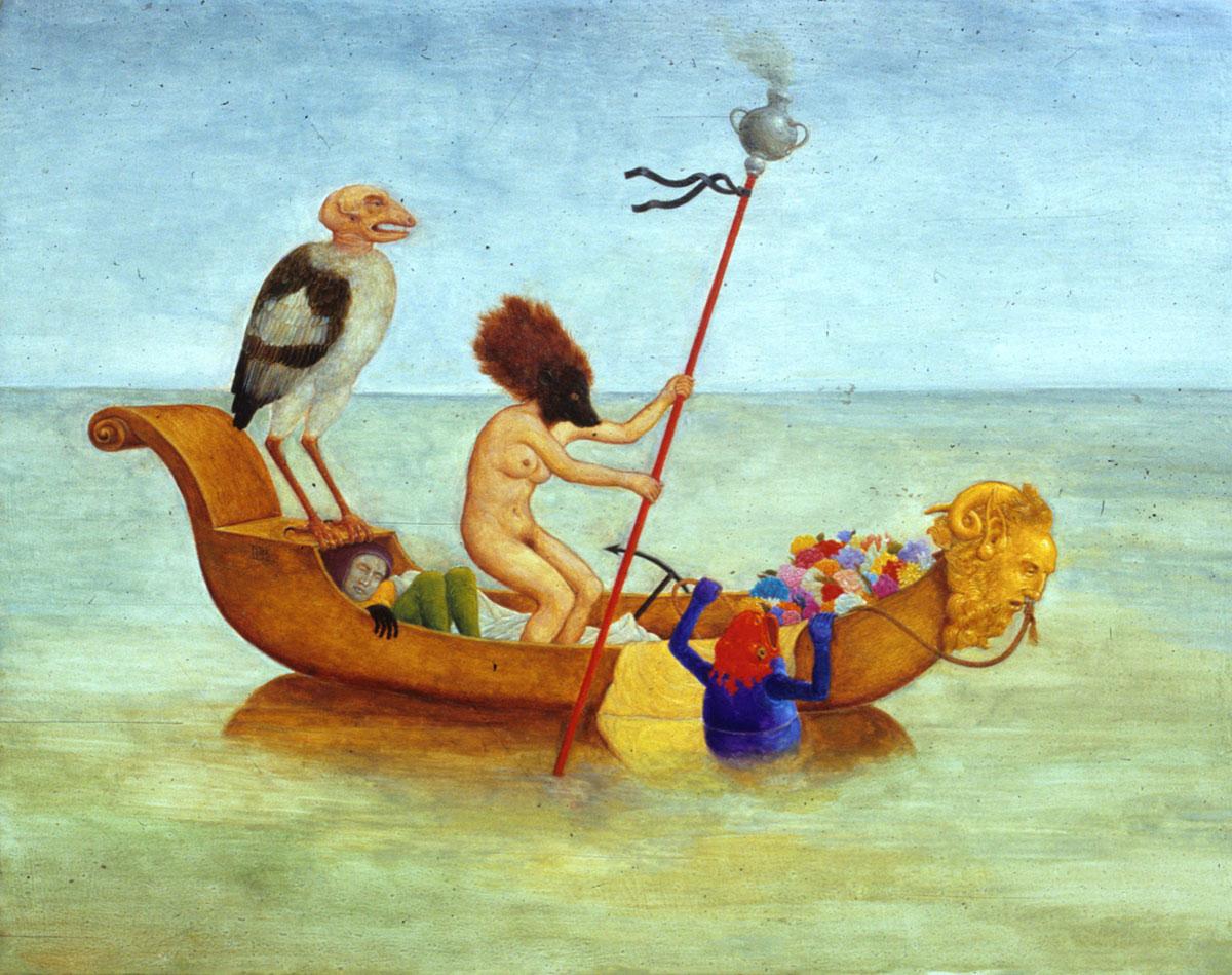 Philippe Briard - Le passage ou la dernière gondole : 1990, huile sur panneau, 24 x 119 cm
