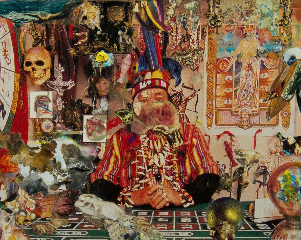 Philippe Briard - Le Devin, 2002, collage gouache, 15,5 x 20 cm