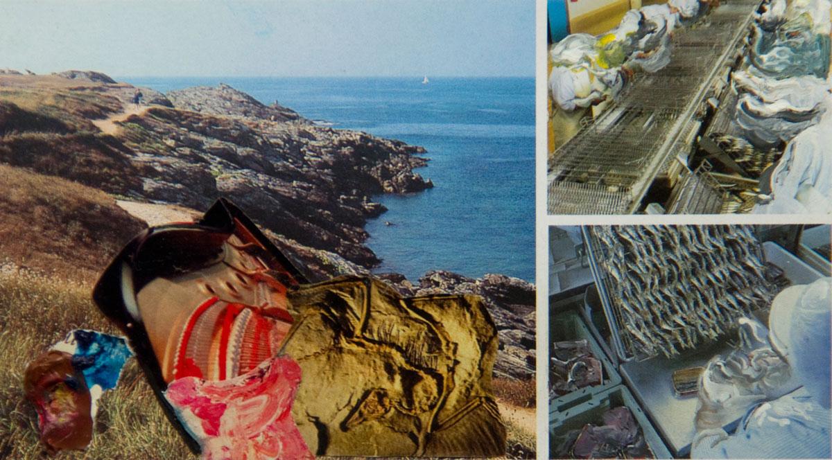 Philippe Briard - Les Souvenirs translucides, 2009, collage acrylique sur carte postale, 8,5 x 15 cm