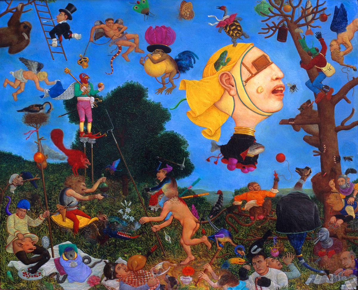 Philippe Briard - Les sept péchés capitaux, 1992, huile sur panneau, 38 x 44 cm