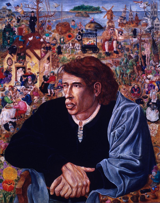 Philippe Briard - Portrait de Jacques Brel, 1984, huile sur panneau, 36,5 x 46,5 cm