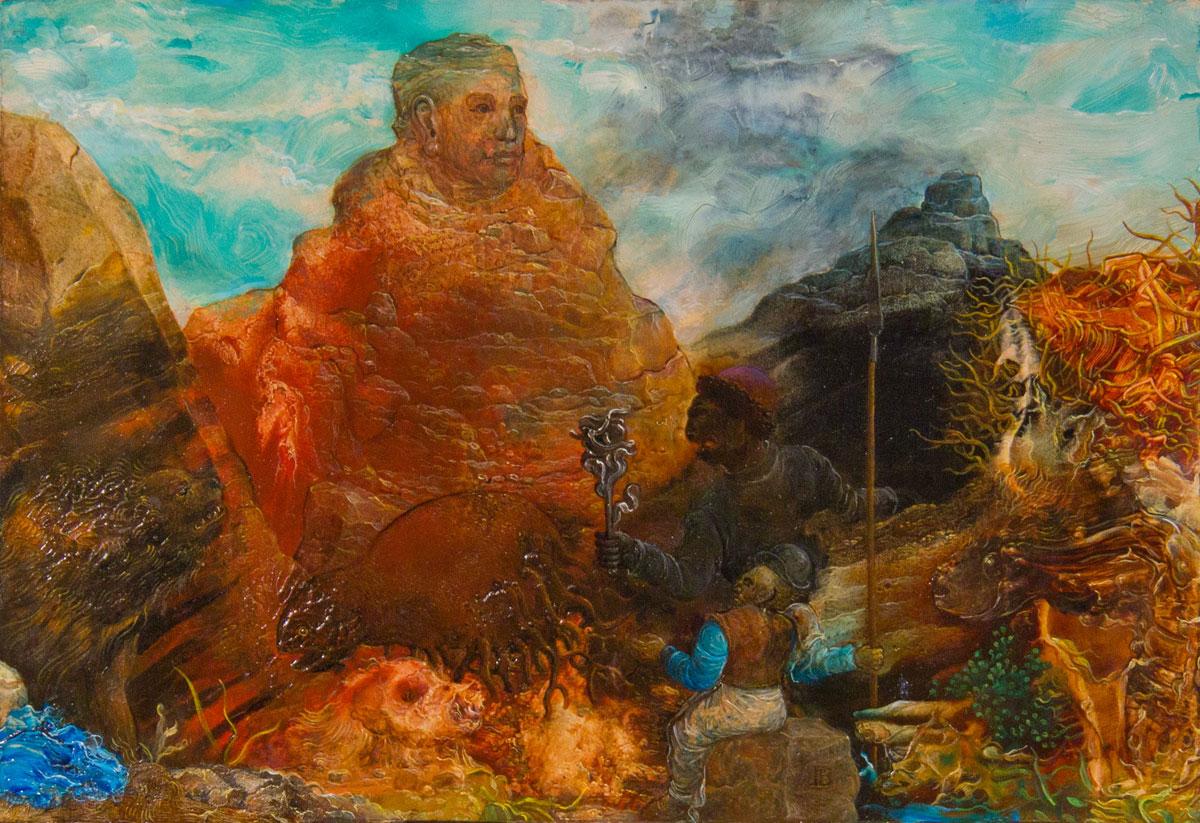 Philippe Briard - Les Étonnements de la montagne, 2003, huile sur panneau, 20 x 15 cm