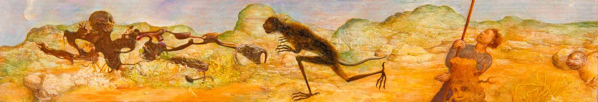 Philippe Briard - Combat dans la campagne, 2006, huile sur panneau, 12 x 25 cm