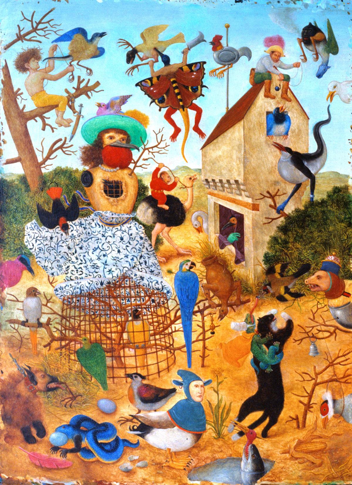 Philippe Briard - Les Oiseleurs, 1989, huile sur panneau, 20 x 27 cm