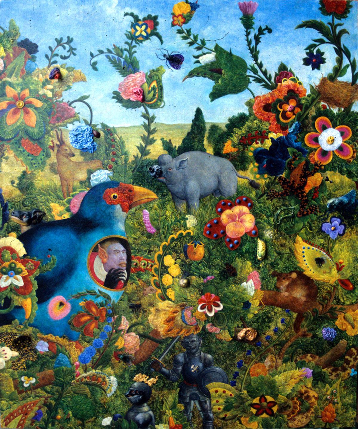 Philippe Briard - Promenade en forêt, 1997, huile et collage sur panneau, 46 x 55 cm