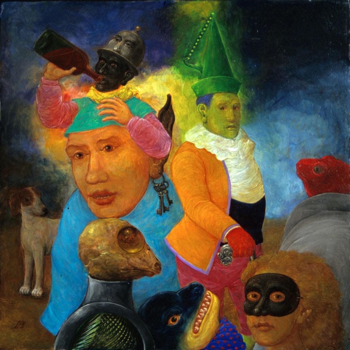 Philippe Briard - Petite Fête de nuit, 1999, huile sur panneau, 20 x 20 cm