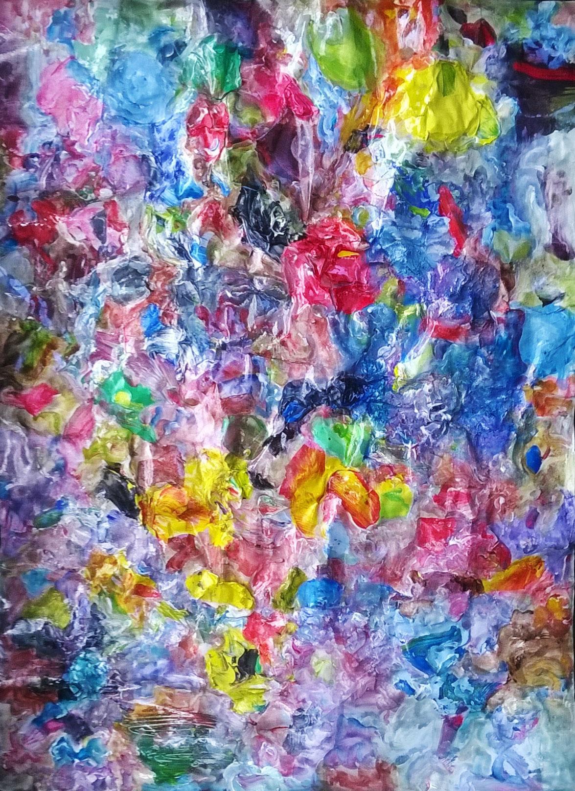 Topographie, 2020, collage papier, gouache et acrylique, 28 x 38 cm