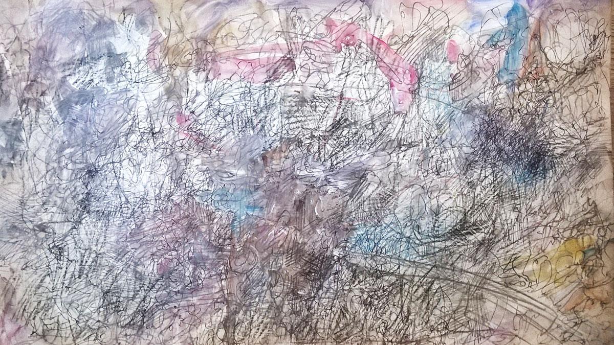 Agencement d'espaces, 2020, dessin, collage, crayon de couleur, mine de plomb, stylo, acrylique, 15 x 25 cm